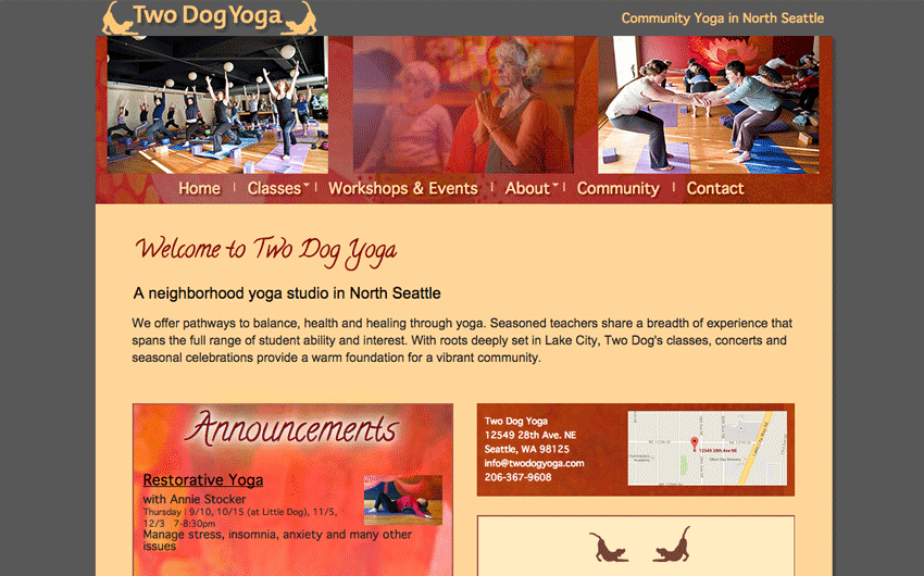 Two Dog Yoga home page